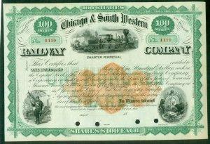 US #RN-U1 25¢ Revenue Stamped paper on Stock Cert CHICAGO & SO. WESTERN RAILWAY