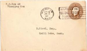 Canada 3c KGV Envelope 1921 Winnipeg, Man. Remember The National Fish Day Feb...
