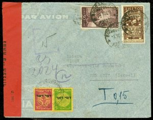 EDW1949SELL : ISRAEL 1949 Air Mail Forwarded Censored cover to Tel Aviv.