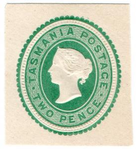 (I.B) Australia Postal : Tasmania 2d (postal stationery)