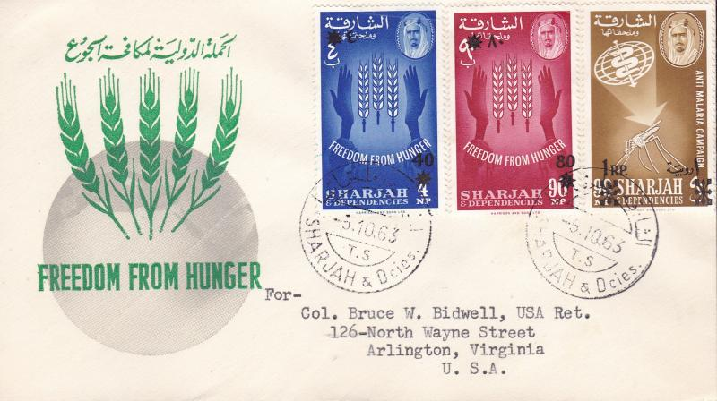 U.N. Food & Agricultural Org. 1963.Sharjah Stamps Overprint Surcharges (7) FDC