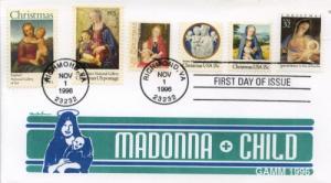 1996 Madonna Christmas (Scott 3107) Gamm 5 others Combo FDC