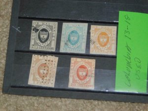 COLUMBIA, SCOTT# 13-18, (REPRINTS OR FORGERIES?), ALL CANCELLED