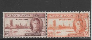 VIRGIN ISLANDS #88-89  1946  PEACE ISSUE         F-VF  USED  cc