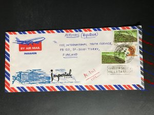 India Registered Cover to Finland City Cancel (1980s-1990s) Cover #2967