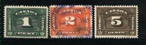 Canada 1,2,5 cent   Custom Duty   U VF   PD