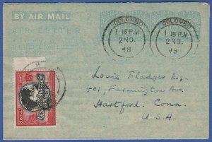 T845 - CEYLON 1948 10c + 10c + 10c + 5c used Aerogramme, uprated 15c UPU stamp