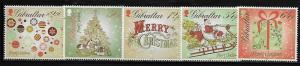 Gibraltar 1414-18 Christmas Mint NH