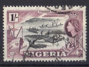 Nigeria 1953  used   1s.  timber  #