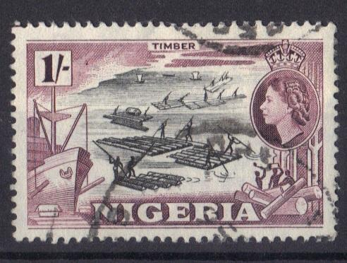Nigeria 1953  used   1s.  timber  #