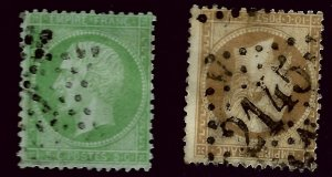 France SC#23 & 25 Used Fine hr SCV$25.00...Worth a Close look!!