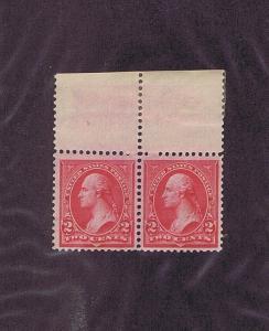 SC# 266 267 PAIR ORIGINAL GUM HINGED 2c WASHINGTON, 1895, TOP SELVEDGE.