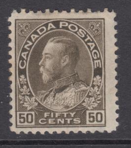 Canada Sc 120 MOG. 1925 50c black brown KGV Admiral, small faults