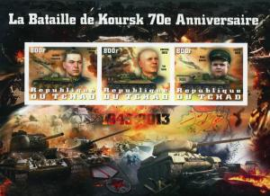 Chad Kursk Battle Military Tank Imperforated Souvenir Sheet of 3 Stamps Mint NH