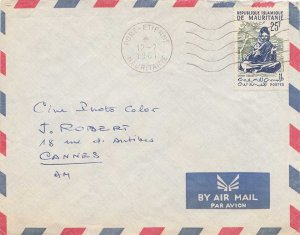 Mauritania 25F Seated Dance 1961 Port-Etienne, Mauritanie Airmail to Cannes, ...