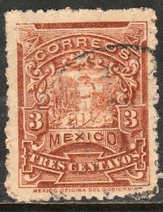MEXICO 259 3cents MULITA WMK INTERLACED RM USED  F-VF. (159)