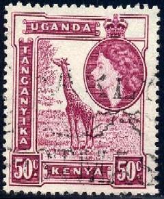 Giraffe, Kenya, Uganda & Tanzania stamp SC#110 used