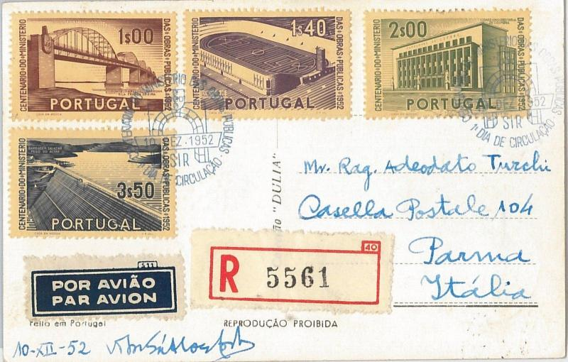 54369 - FOOTBALL - PORTUGAL -  POSTAL HISTORY: Sport stamps on POSTCARD 1952