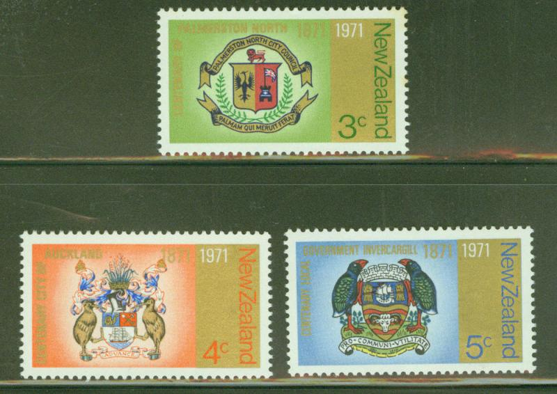 New Zealand Scott 473-5 MH* 1971 coat of Arms set