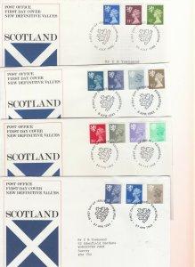1971-1984 SCOTLAND MACHIN DEFINITIVE FIRST DAY COVERS X9