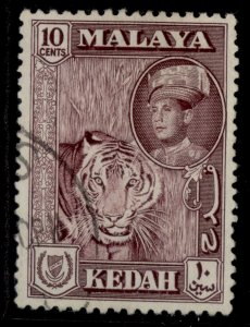 MALAYSIA - Kedah QEII SG109a, 10c deep maroon, FINE USED.