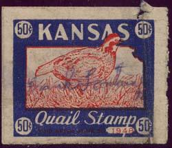 USA - 1948 50c Kansas Quail Stamp Red & Blue, Signed