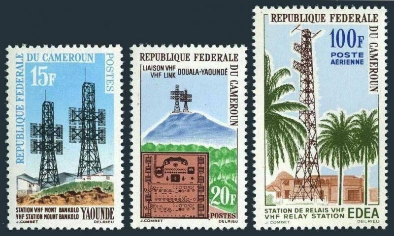 Cameroun 384-385,C46,MNH.Michel 388-390. Telegraph Douala-Yaounde,1963.