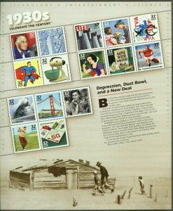 1998 sheet Celebrate the Century 1930s Sc# 3185