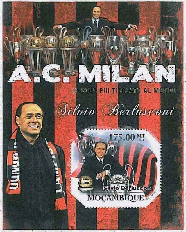 FOOTBALL - MOZAMBIQUE - 2011 SOUVENIR SHEET : MILAN - Berlusconi