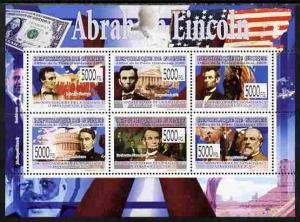 Guinea MNH S/S Abraham Lincoln 2009 6 Stamps