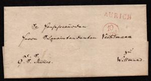 $German Stampless Cover, Aurich to Wittmund (~1814) red, date