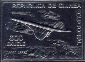 Equatorial Guinea 1976 CONCORDE (1v) Embossed Silver Imperforated Mint