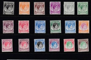 SINGAPORE  1948 - 52  S G 16 - 30  SET OF 16  MH  CAT £400