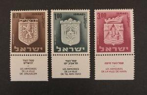Israel 1965-66 #289-91 Tab, MNH, CV $2.10