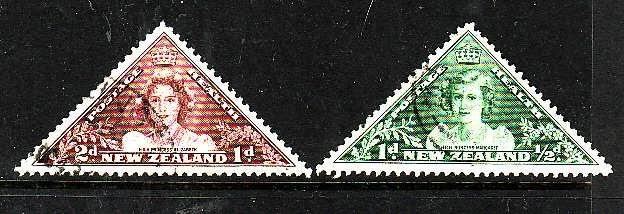 New Zealand-Sc#B22-3-used semi-postal set-Princess Elizabeth-Triangles-1943-