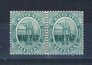 St Kitts-Nevis MR1 MNH pair War Tax 1916 (S0888)