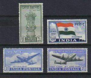 INDIA 1947 INDEPENDENCE JAI HIND SET SCOTT #200-202,