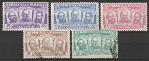 Paraguay 1954 Sc 481-5 set MH*/used