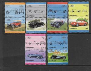 St. Vincent MNH 906-11 Pairs Automobiles SCV 7.00