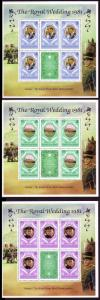 Turks and Caicos Charles and Diana Royal Wedding 3 sheetlets of 5v+label