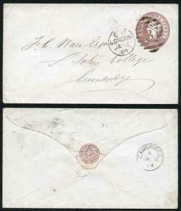 EP21 QV 1d Pink Envelope (18.11.63) Size C Used London Duplex