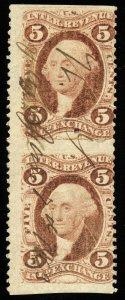 B322 U.S. Revenue Scott R27b 5c Inland Exchange part perf vertical pair 1863 cxl