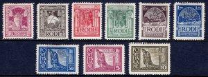 ITALY — RHODES (RODI) — SCOTT 15-23 — 1929 ROYAL VISIT SET — MH — SCV $395