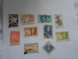 BRAZIL STAMPS. LOT OF 10. MIXED CON. #25
