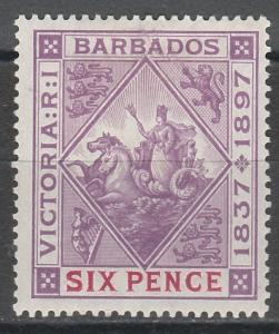 BARBADOS 1897 QV JUBILEE SEAHORSES 6D