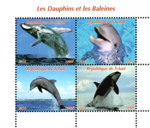 Chad 2014 Dolphin Whale Fishes 4v Mint S/S. (#41)