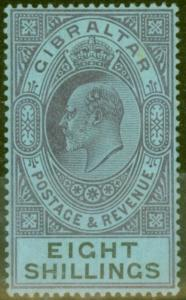 Gibraltar 1903 8s Dull Purple & Black-Blue SG54 Fine & Fresh Lightly Mtd Mint (8
