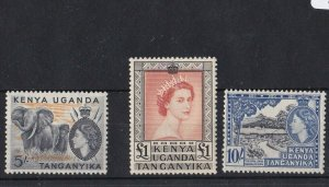 BC653) KUT 1954 QEII Definitive High Values, SG178-80 MH. The £1 has some toning