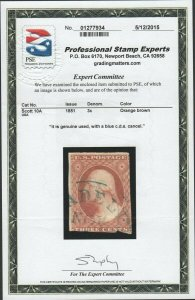 #10A  3c 1851 Orange Brown Washington PSE CERT NICE  cv$135.00