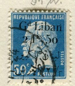 SYRIA;   1923 Grand Liban surcharged Pasteur used 2.50Pi. value